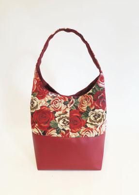 Petit Sac Seau Jacquard Roses skaï rouge grainé inter