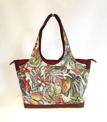 Shopper Moyen Modèle Tissu papillons+alcantara rouge foncé-inter rouge foncé