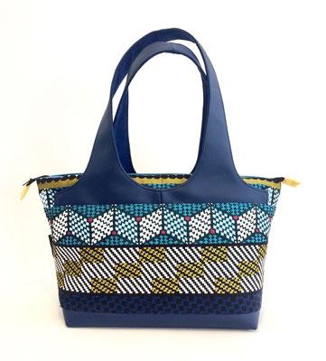 Shopper Moyen Modèle Tissu ethnique bleu+skaï bleu