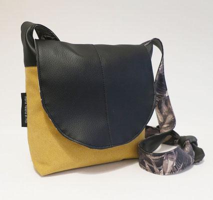 Besace PM Toile bâche jaune + skaï Noir + doublure motifs N&B
