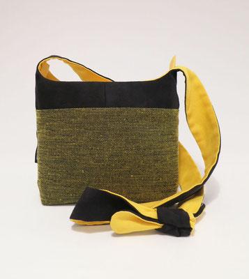 Bandoulière PM Tissu jaune+ Alcantara Noir