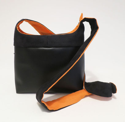 Bandoulière PMSkaï noir + Alcantara Noir Inter orange