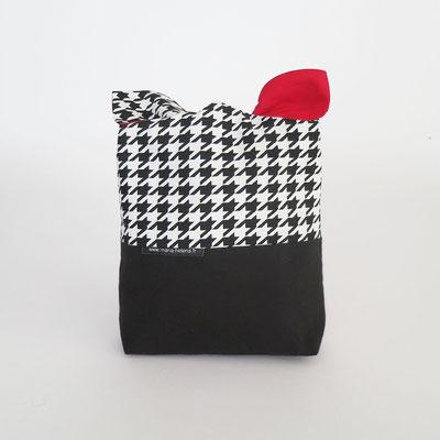 Poche à lingerie rectangle Bi-colore Noir +Pieds de poule N&B