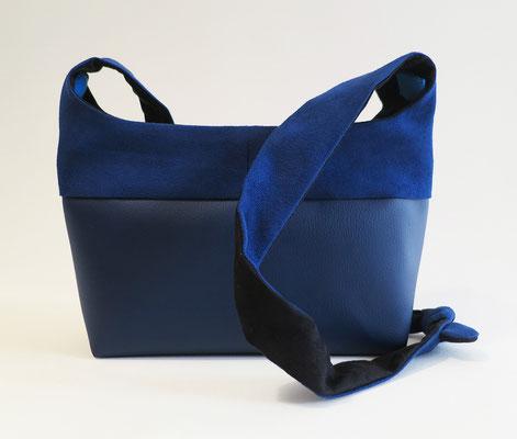 Bandoulière MM Skaï Bleu nuit+Alcantara Bleu nuit