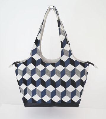 Shopper PM Tissu carreaux Echer bleu