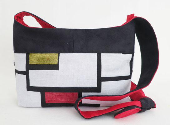 Bandoulière MM  Tissu Mondrian + Alcantara noir inter rouge