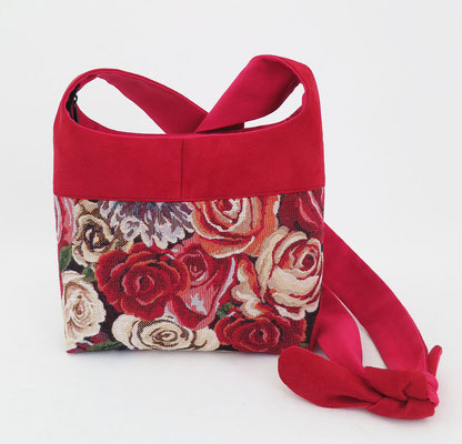 Bandoulière PM Toile Roses, Alcantara rouge, inter fuchsia