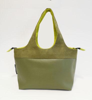Shopper PM Skaï Vert Bronze+Alcantara vert bronze
