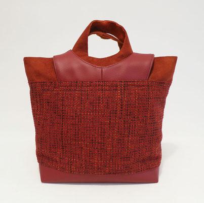 Sacados MM Tissu faux uni rouge Skaï rouge Alcantara rouge