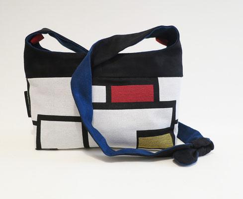 Bandoulière GM Tissu Mondrian, alcantara noir