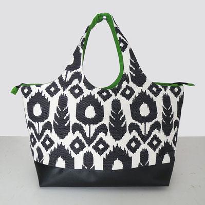 Sac Shopper TGM Tissu Inca N&B Inter Vert