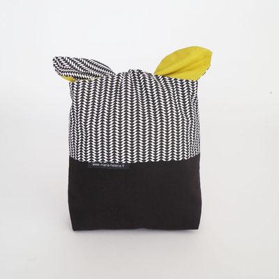 Poche à lingerie rectangle Bi-colore Noir + Petits motifs N&B