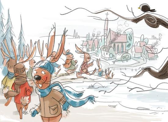 Osterhase und Nikolaus | Herder Verlag 2015 | Tags: Illustration,  Weihnachtsmann, Nikolaus, Osterhase, Dorf
