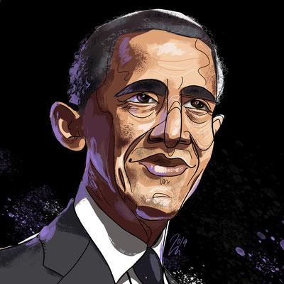 Freie Arbeit | 2019 | Tags: Illustration, Portrait, Barack Obama, Politiker, USA, President