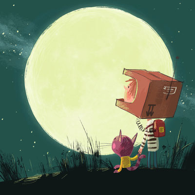 Illustration Kinderbuch / Mond, Astronauten, Freunde