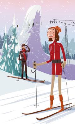 Freie Arbeit | 2019 | Tags: Illustration, Piste, Ski fahrn, Skimode, Fünfziger, Sechziger, Skisport, Fifties, Sixties, hübshce Frau