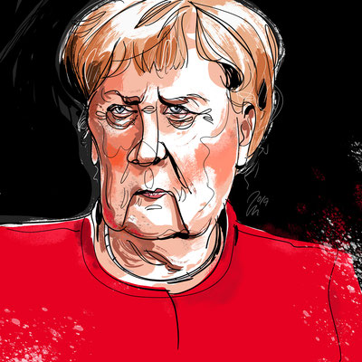 Freie Arbeit | 2019 | Tags: Illustration, Portrait, Angela Merkel, Kanzlerin, Bundeskanzler, Chancelor