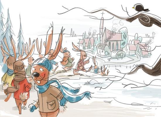 Illustration, Die Geschichte vom Osterhasen, der dem Weihnachtsmann half
