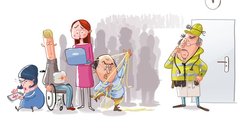 Article about Openreach   Which!   2015   Tags: Illustration, Telefon, Internet, Telekommunikation