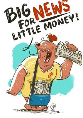 Freie Arbeit | 2019 | Tags: Illustration, Zeitung, Newspaper, Fakenews, News, Zeitungsverkäufer, Bär