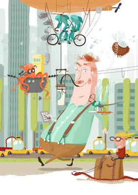 Freie Arbeit | 2016 | Tags: Illustration,  Geschäftsmann, Büro, Arbeit, Stadt