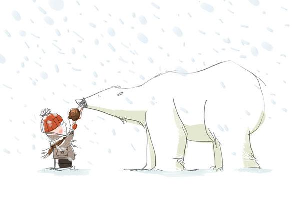 Illustration Kinderbuch / Bilderbuch, Junge und Eisbär mit Eis