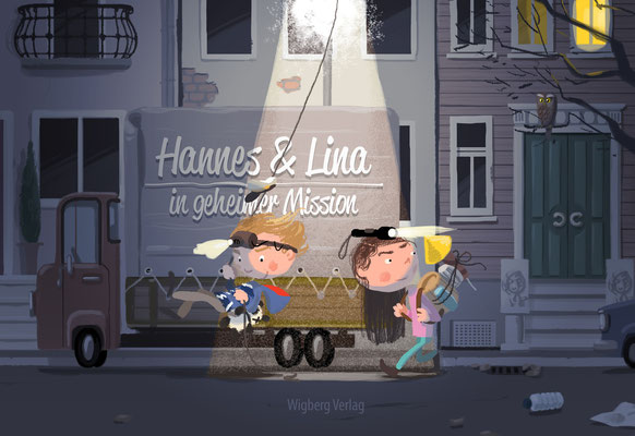 Illustration Kinderbuch / Bilderbuch, Cover,  Hannes und Lina auf geheimer Mission