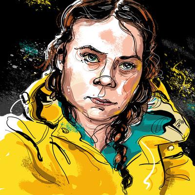 Freie Arbeit | 2019 | Tags: Illustration, Portrait, Greta Thunberg, Klimawandel, Fridays for future, Aktivistin