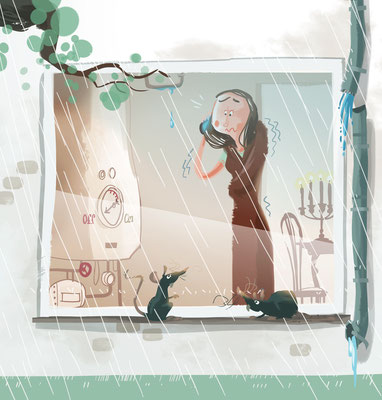 Article about Home Insurance Cover | Which! | 2015 | Tags: Illustration, Winter Heizung kaputt frieren Frost kalt Ratten Regenrinne