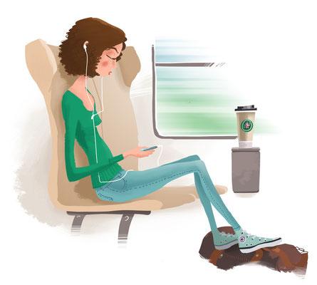 Freie Arbeit | 2015 | Tags: Illustration, Unterwegs, Frau, Zug, Kaffee, Musik