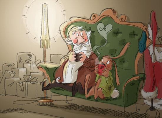 Osterhase und Nikolaus | Herder Verlag 2015 | Tags: Illustration,  Weihnachtsmann, Nikolaus, Osterhase, Wohnzimmer, Geschenke
