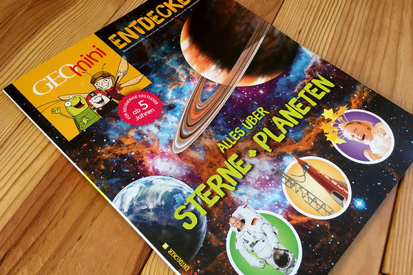"Cover GEOmini ""Entdecker"" 2017 - ""Alles über Sterne + Planeten""."