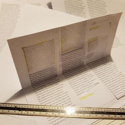 Das Gestalten des Faltblatts in Papier