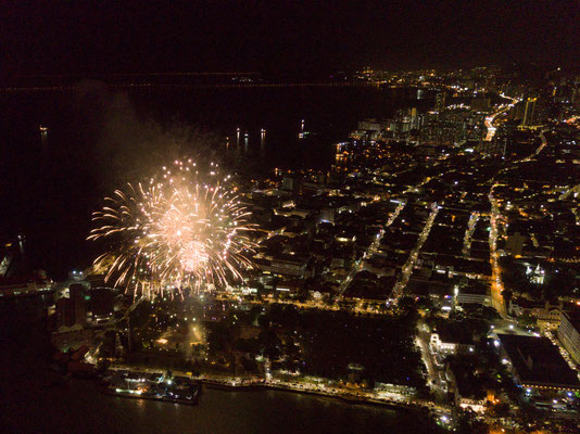 Feuerwerk auf der Inseln Penang, Malaysia