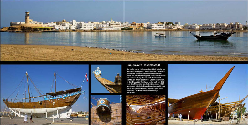 Bildband Oman, Reisefuehrer, travel guide, Reisebildband, Raimund Franken, Sur mit Dhauwerft