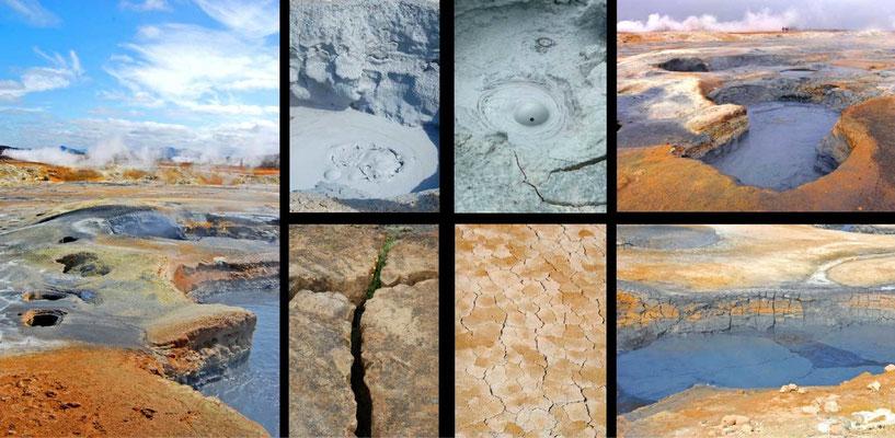 Bildband Island, Iceland, Raimund Franken, heisse Quellen und brodelnde Schlammtoepfe in Namaskjath