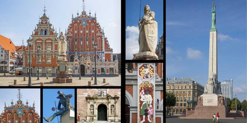 Bildband Baltikum, Estland, Lettland, Litauen, Reisefuehrer, Guide, Raimund Franken, Rathausplatz mit Schwarzhaepterhaus und Roland in Riga