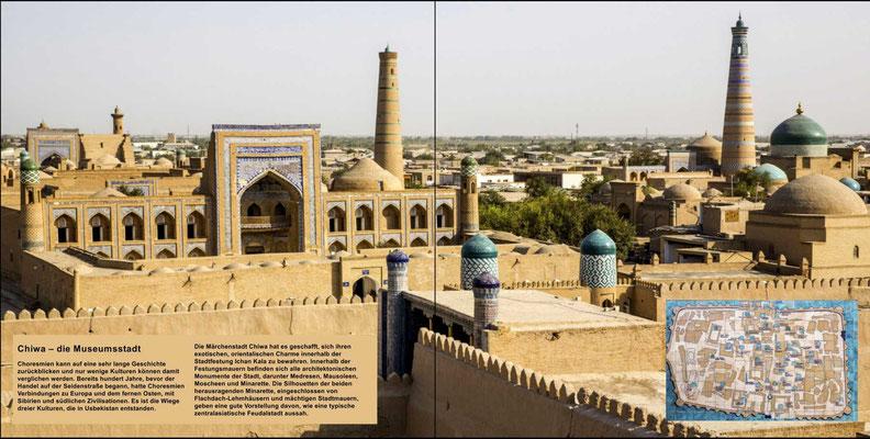 Bildband Usbekistan, Reisefuehrer, travel guide, Reisebildband, Blick auf die historische Altstadt, Chiwa,