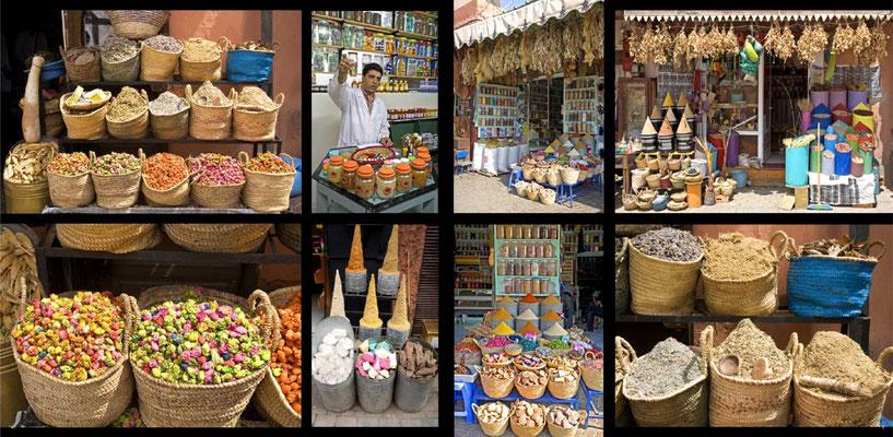 Bildband Marokko, Reisefuehrer, travel guide, Reisebildband, Raimund Franken, Kraeuter und Gewuerze auf dem Markt