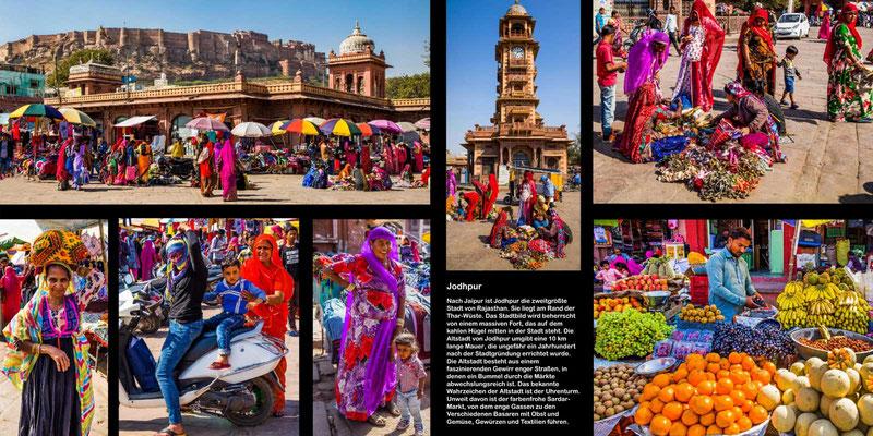 Bildband Rajasthan, Reisefuehrer, Reisebildband, Raimund Franken, farbenpraechtiger Markt in Jodpur mit Blick auf das Fort