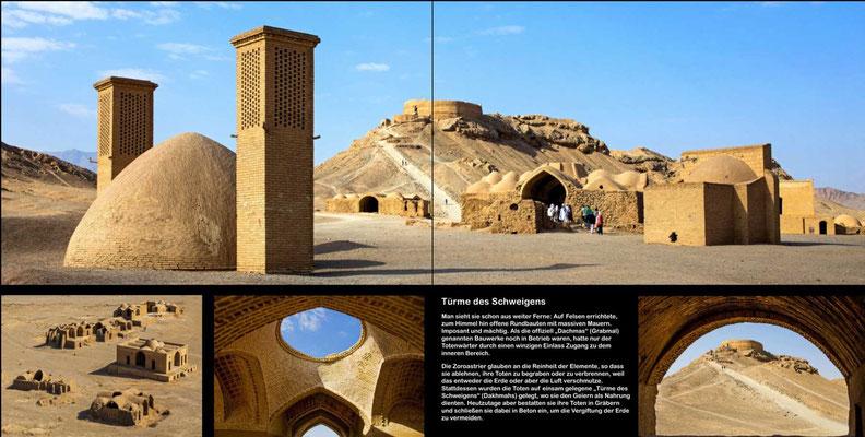 Bildband Iran, Reisefuehrer, travel guide, Reisebildband, Raimund Franken, Tuerme des Schweigens mit luftgekuehlter Zisterne, Yasd