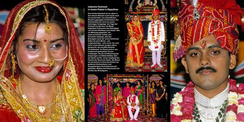 Bildband Rajasthan, Reisefuehrer, Reisebildband, Raimund Franken, traditionelle indische Hochzeit in einem Palast