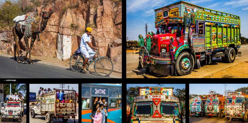 Bildband Rajasthan, Reisefuehrer, Reisebildband, Raimund Franken, unterwegs mit praechtig dekorierten Wagen
