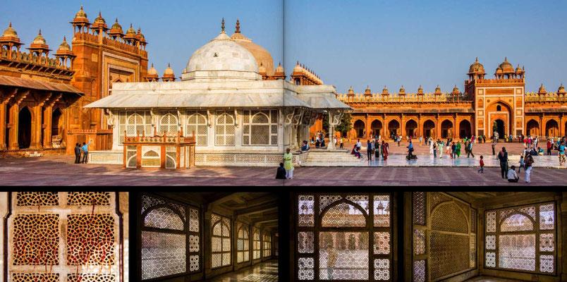 Bildband Rajasthan, Reisefuehrer, Reisebildband, Raimund Franken, Moschee Jami Masjid mit dem Mausoleum von Sheikh Salim Chishti  in der Mogulstadt Fathepur Sikri