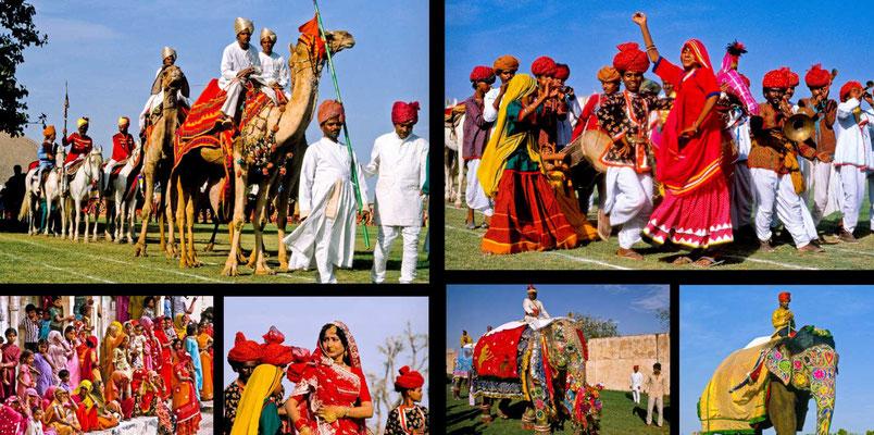Bildband Rajasthan, Reisefuehrer, Reisebildband, Raimund Franken, Umzug beim Holi-Fest in Jaipur