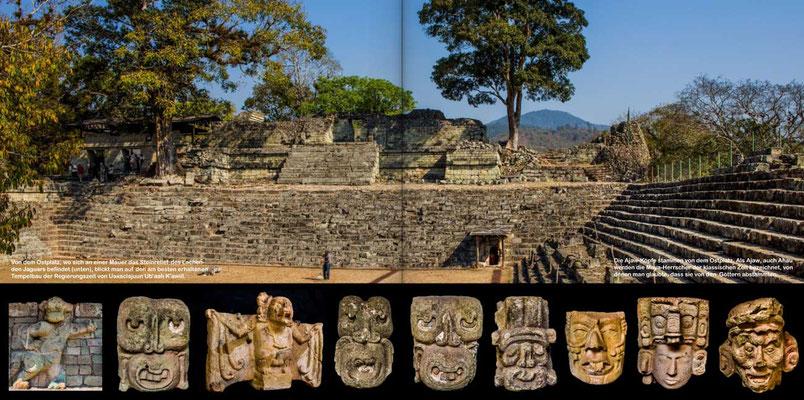Bildband Guatemala-Copan, Reisefuehrer, Reisebildband, Raimund Franken, Ruinenstaette Copan in Honduras mit ausgegrabenen Exponaten