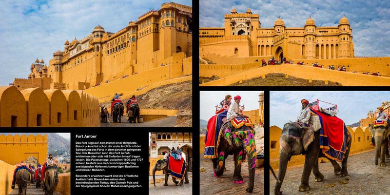 Bildband Rajasthan, Reisefuehrer, Reisebildband, Raimund Franken, Elefantenritt zum Fort Amber