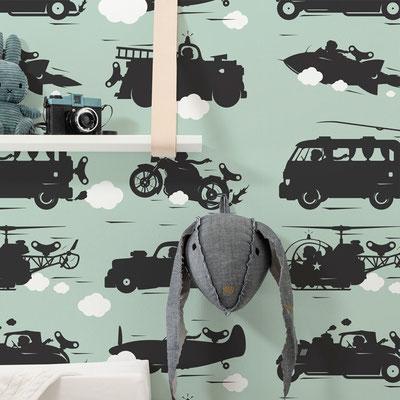 Auto-Tapete fürs Kinderzimmer