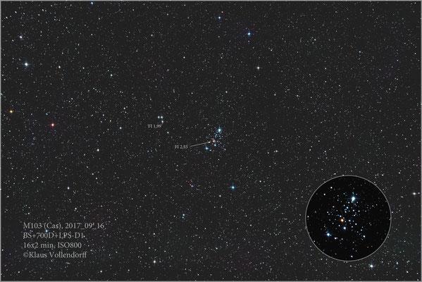 """M103=NGC581 mit BorenSimon 8""""f3.6, 700D+LPS-D1"""