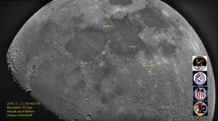 Landeplätze Apollo 11: 1969_07_20 / Apollo 15: 1971_07_30 / Apollo 16: 1972_04_21 / Apollo 17: 1972_12_11